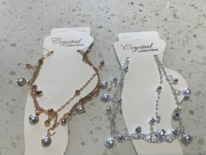 Crystal and Pearl Anklet