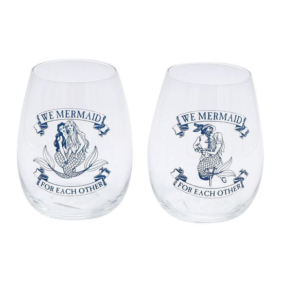 We mermaid for each other wine glass