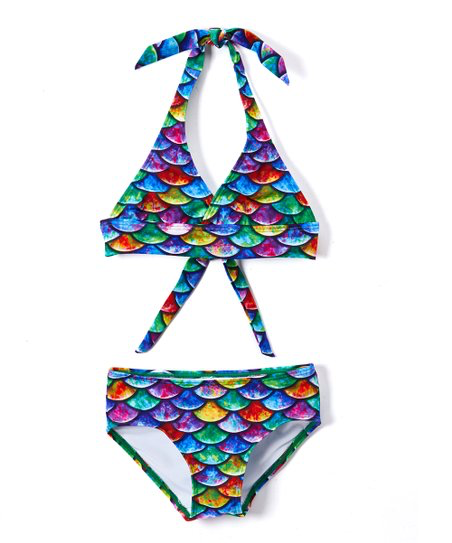 Hawaiian Rainbow Mermaid Bikini Set