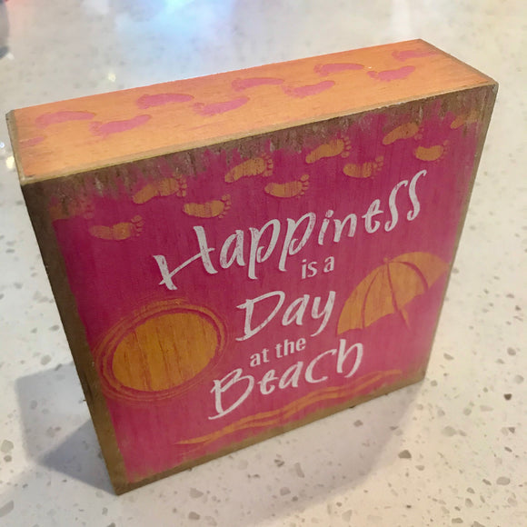 Happiness Is A Day At The Beach Box Sign