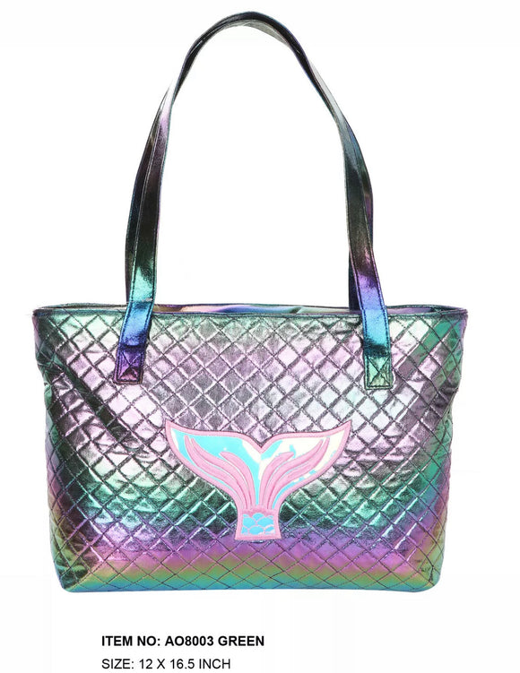 Rainbow Green Tail Tote