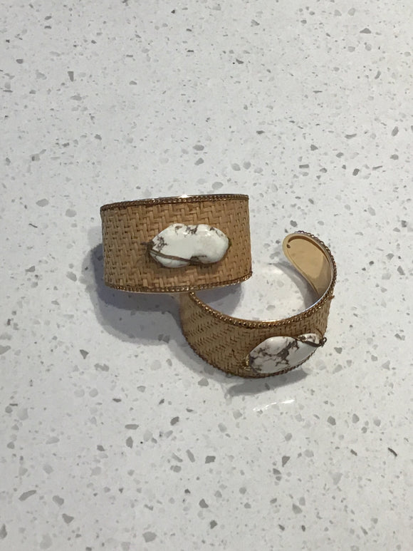 Rock Cuff With Woven Back