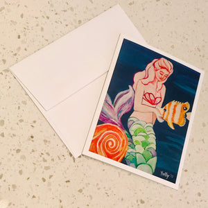 Mermaid with Fish Holly Card