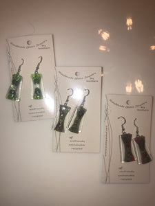 Handmade glass hourglass earrings