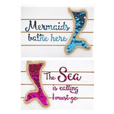 Glitter Mermaid Tail Block Sign