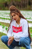 Women's Sniper Crop-Top Hoodie (White)