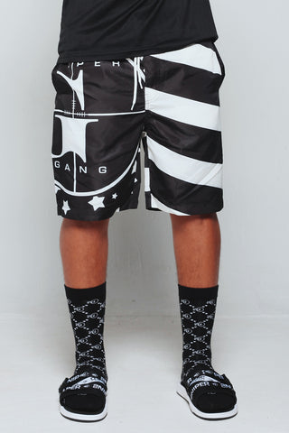 Stars-N-Stripes Beach Shorts (Black)