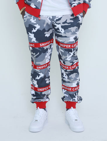 STRAPPED-UP SWEATPANTS (red/grey)