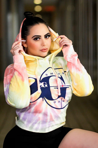 Women's Sniper Crop-Top Hoodie (Zen Rainbow Yellow)
