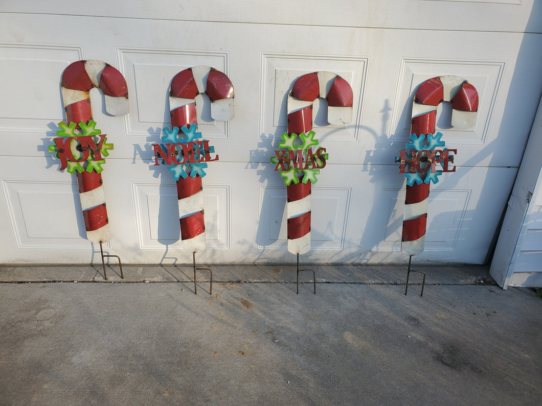 Candy Cane Wire Yard Art