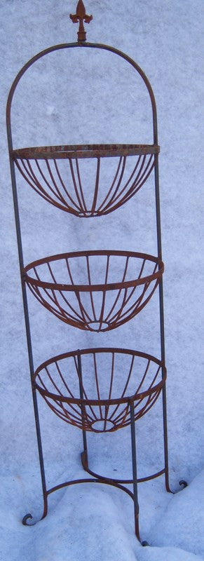 3 Tier Round Basket Stand w Finial