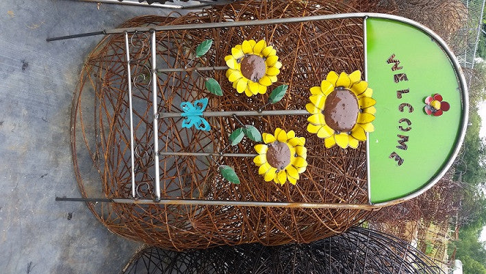 3 Sunflower On Welcome Trellis