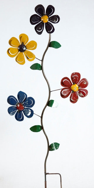 4 SPIN FLOWERS ON STAKE