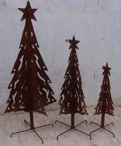 SET OF 3 TREES WITH STARS ON TOP TWISTED BASE