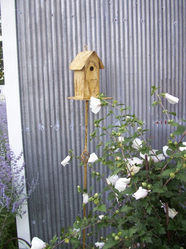 Slim Line Bird House with Clean Out & Stake