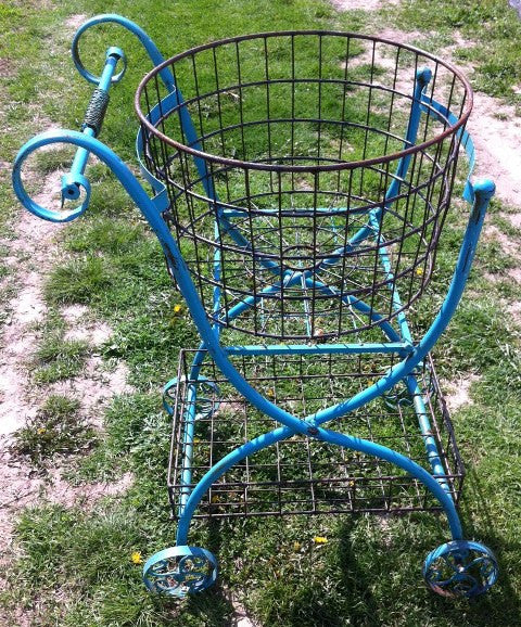 Blue Double Basket Cart