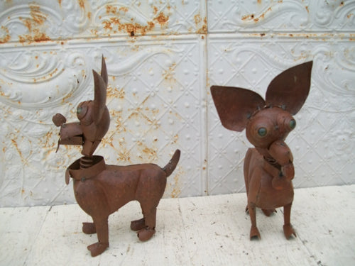 Chihuahua Metal with Glass Eyes