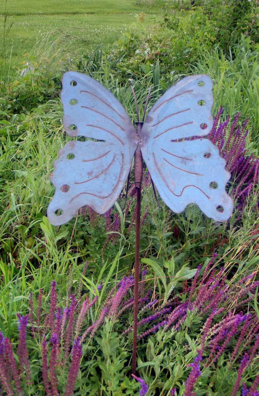 Colorful Butterfly Re-Used Metal w Stake 