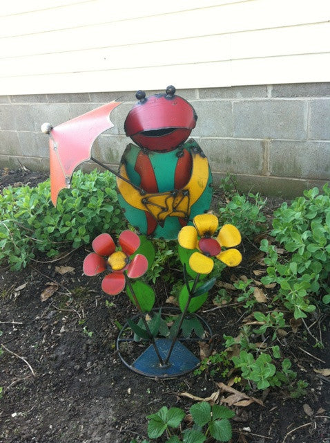Colorful Frog with Dbl Flowers