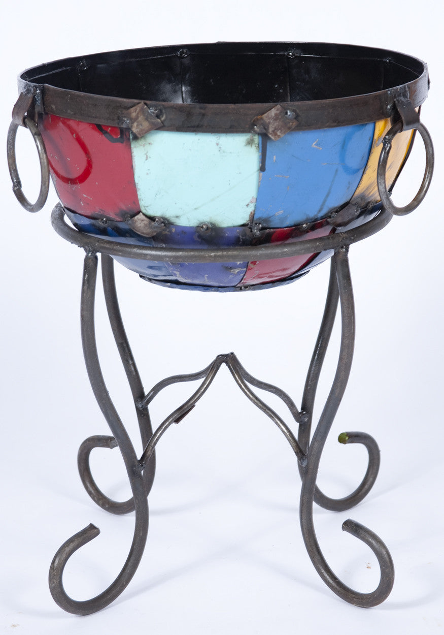 Colorful Set of 3 Pots with Stands