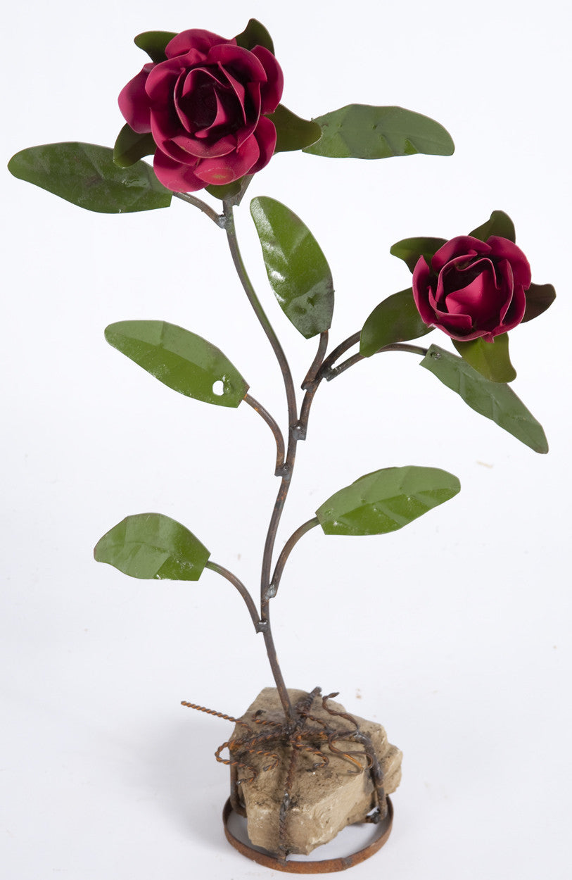 DOUBLE ROSE WITH ROCK BASE