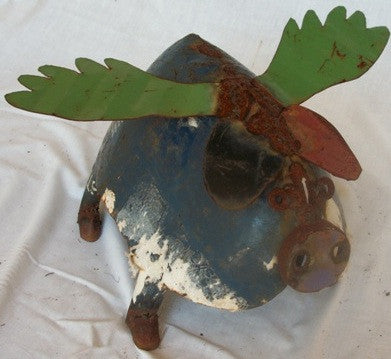 Large Blue and Green Flying Pig