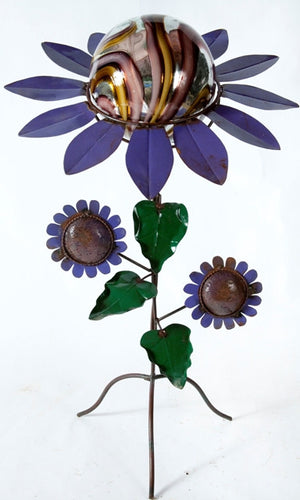 purple petals- 3 sunflowers stand- gold and purple ball