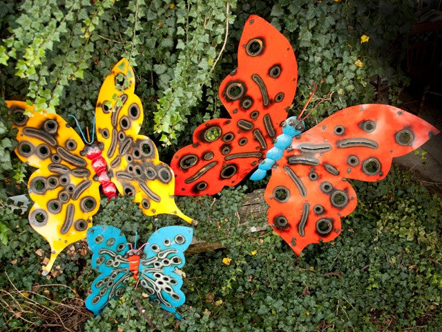 Giant Set of 3 Re-Used Metal Butterflies