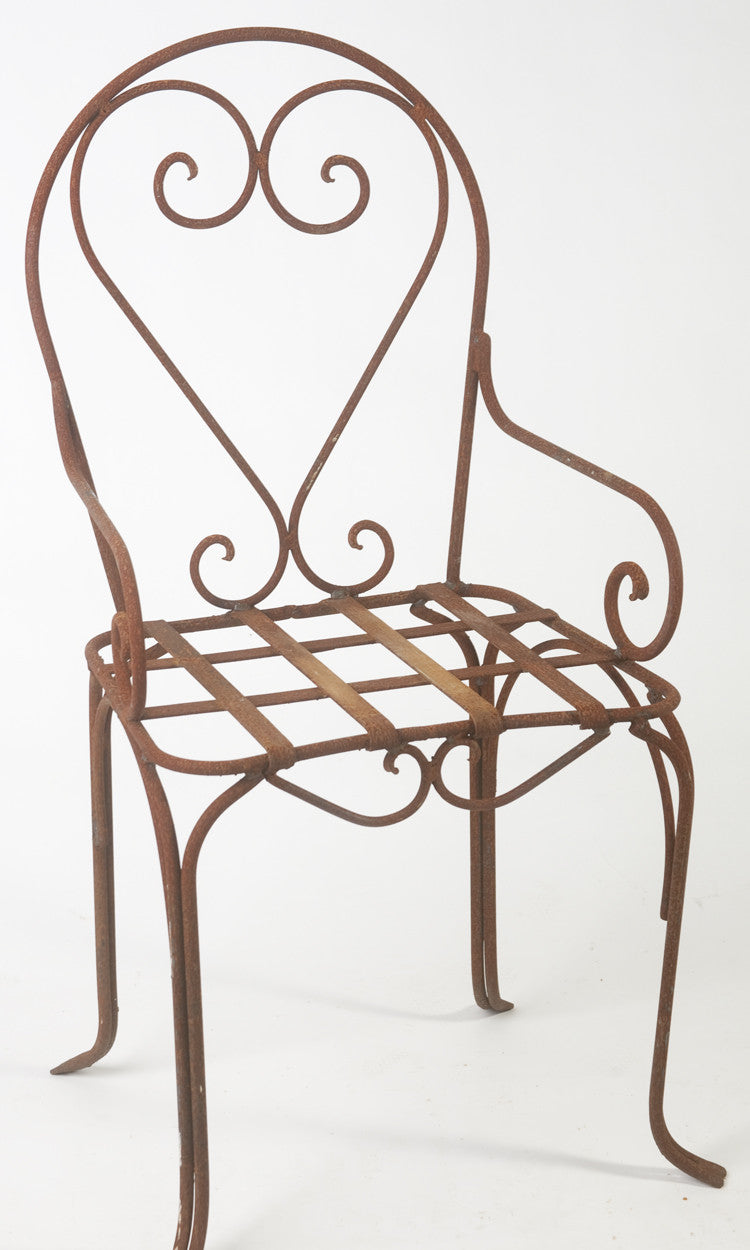 This is a wrought iron chair It measures 45