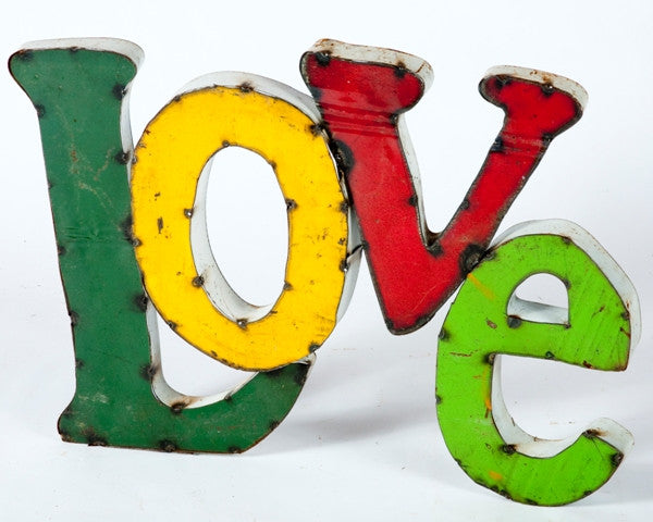 Love 3-D Tin Sign