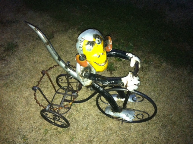 Re-Used Metal Monkey on Trike w Basket