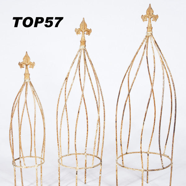SET OF 3 TOPIARY WITH FINIAL