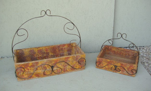 Set of 2 Wooden Tote w Iron Handles