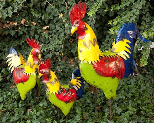 Set of 3 Bright Yellow Color Roosters