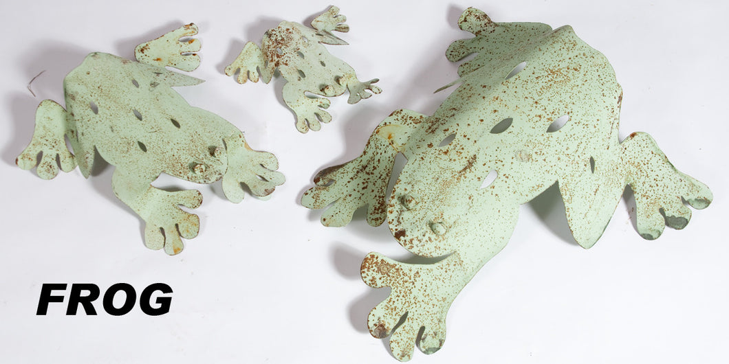Set of 3 Metal Frogs