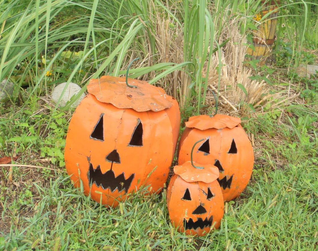 Set of 3 Re-Used Metal Pumpkins