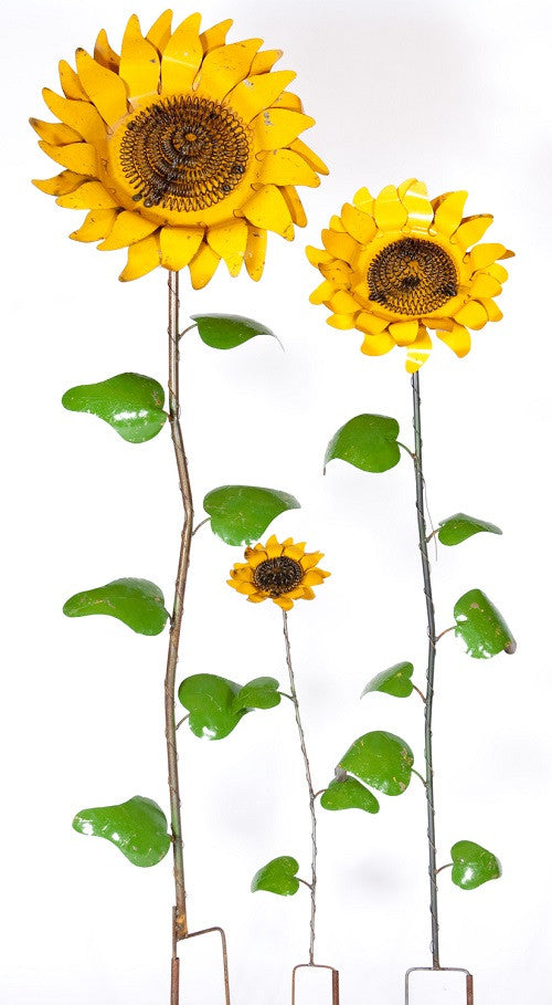 Set of 3 Sunflowers on Stakes