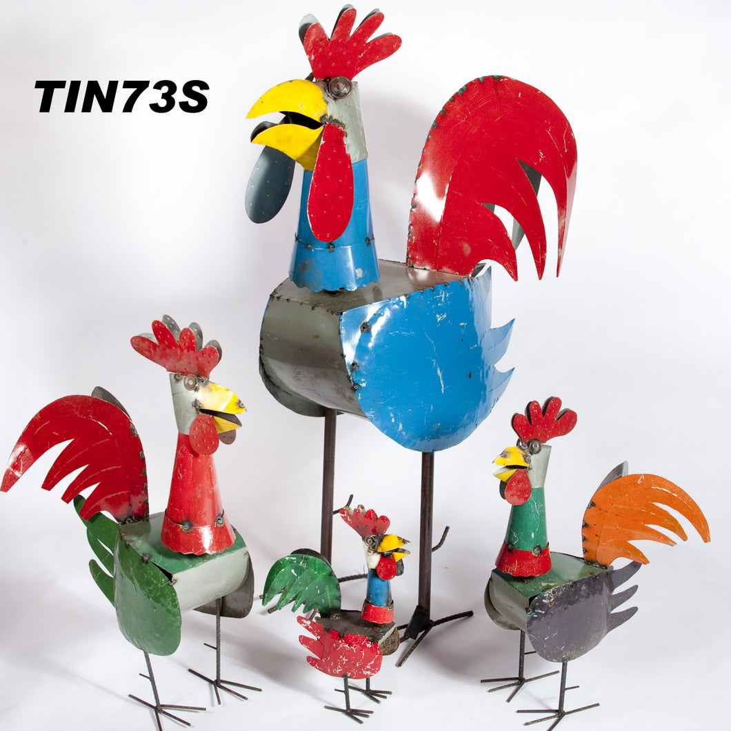 Set of 4 Roosters with Spring Head