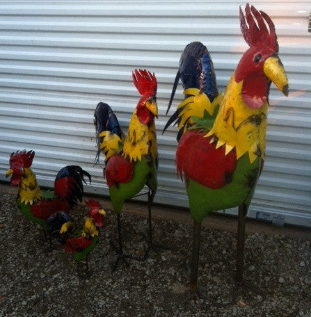 Set of 4 Roosters Colorful
