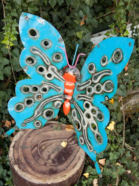 small reused metal butterfly