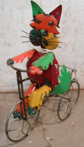Colorful Cat Riding Trike with Basket