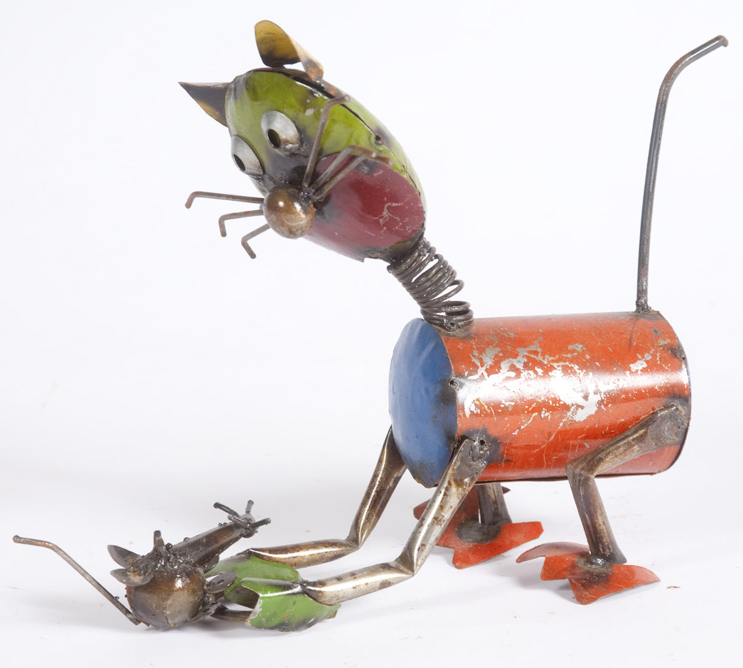 Tin Cat with Mouse