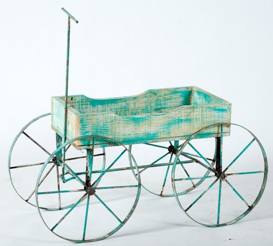 This a great wood wagon with iron wheels Would make a wonderful cart for holding your potted plants Measures 16
