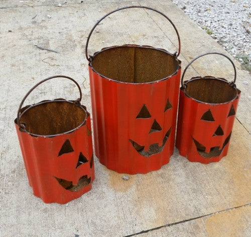 Set of 3 Orange Bucket Pumpkins