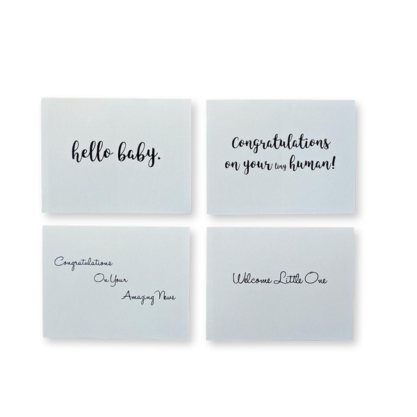 our curated new baby gift boxes include hand written original greeting card
