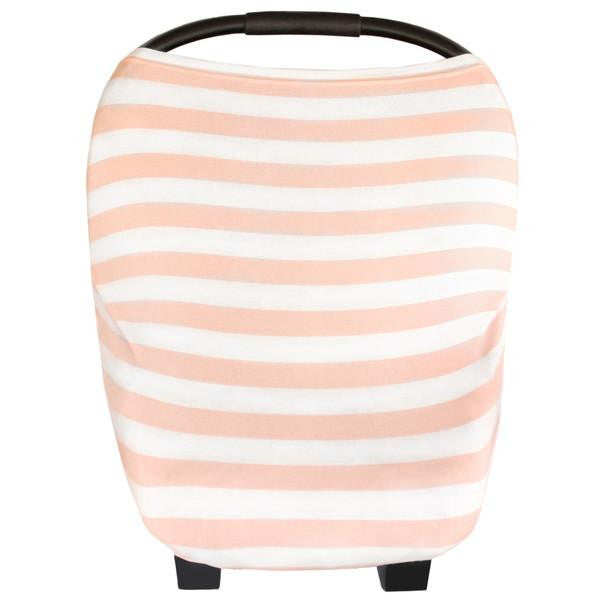 Peach and white striped cotton car set cover for girl new baby gift