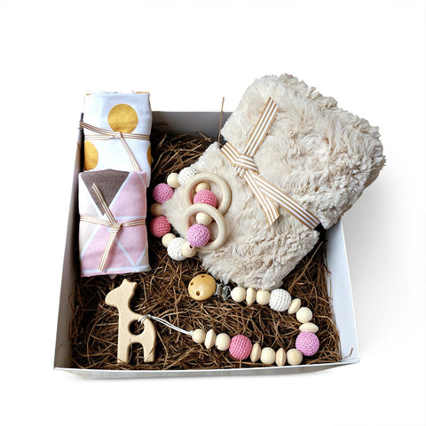 Luxury minky blanket, stylish bandanna bibs & giraffe wooden teether baby girl gift box set