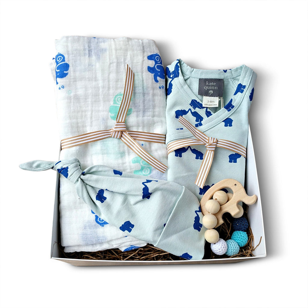Luxury organic cotton baby boy layette and muslin swaddle blanket gift set