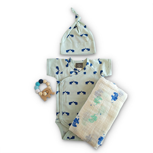 organic cotton Kate Quinn & muslin swaddle and wooden elephant teether baby shower gift set