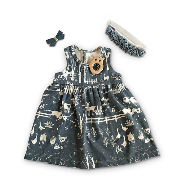 Blue baby dress, hair bow and headband  gift set for baby shower